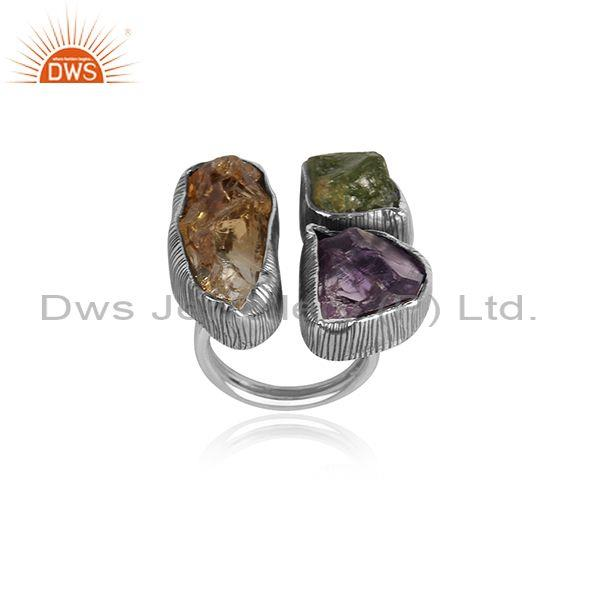 Amethyst, Citrine, And Peridot Set Fine 925 Silver Open Ring