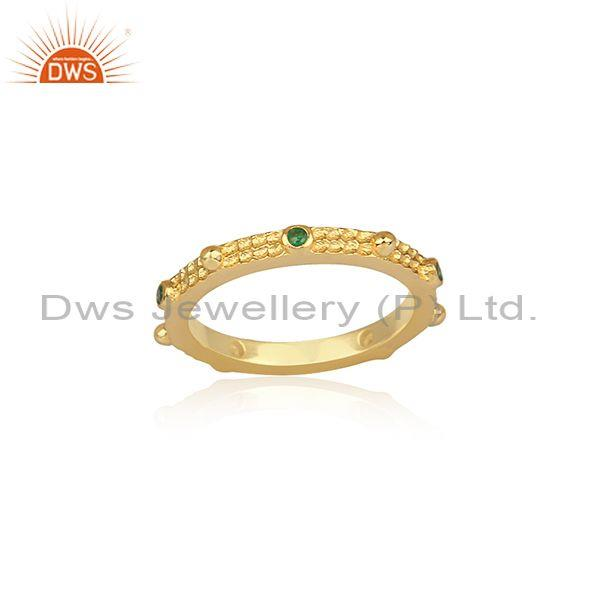 Emerald Set Gold On Sterling Silver Band Type Classic Ring
