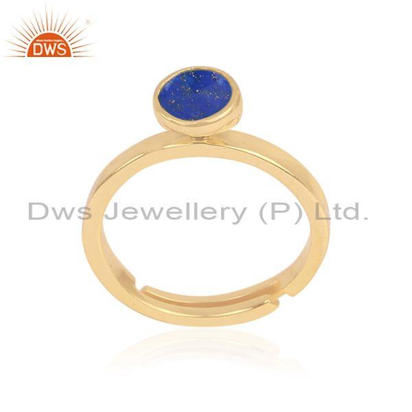 Lapis set gold on 925 sterling silver classic designer ring