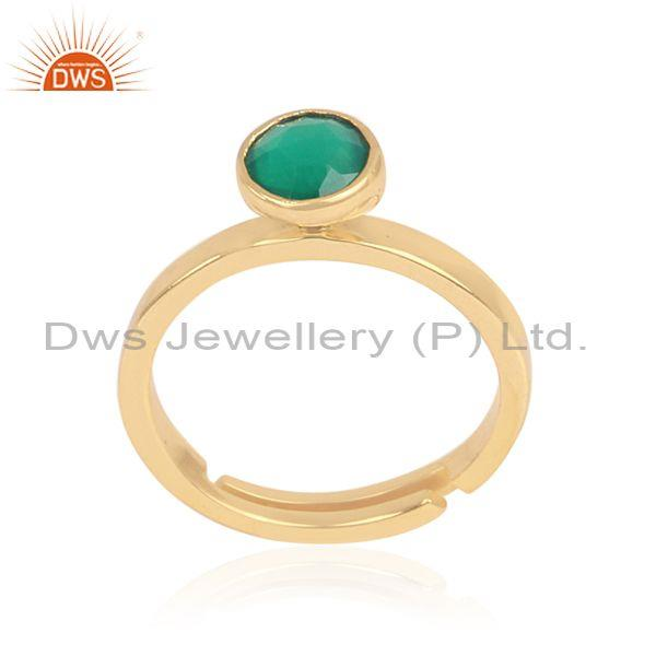 Green Onyx Set Gold On Sterling Silver Classic Designer Ring