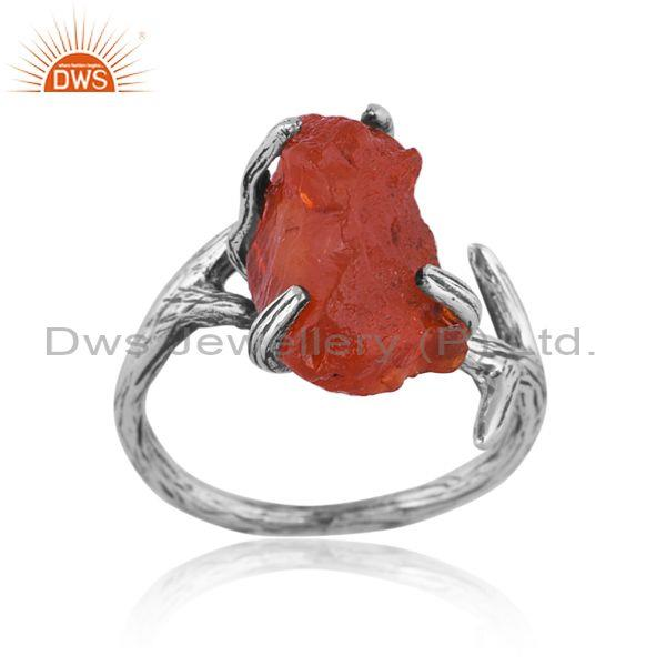 Rough cut carnelian set oxidized 925 silver abstract ring
