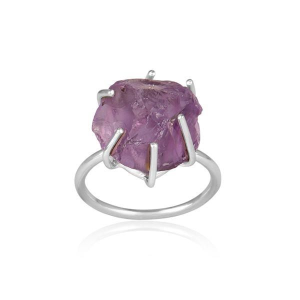Rough Cut Amethyst Set Fine Sterling Silver Statement Ring