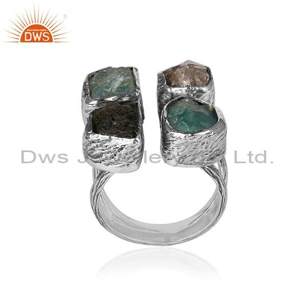 Four stones set oxidized sterling silver classic band ring