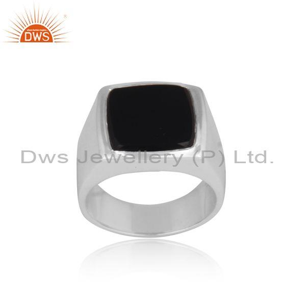 Black Onyx Coin Set Square Shaped Fine 925 Silver Ring