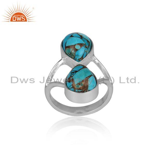 Handmade mojave copper turquoise fine sterling silver ring
