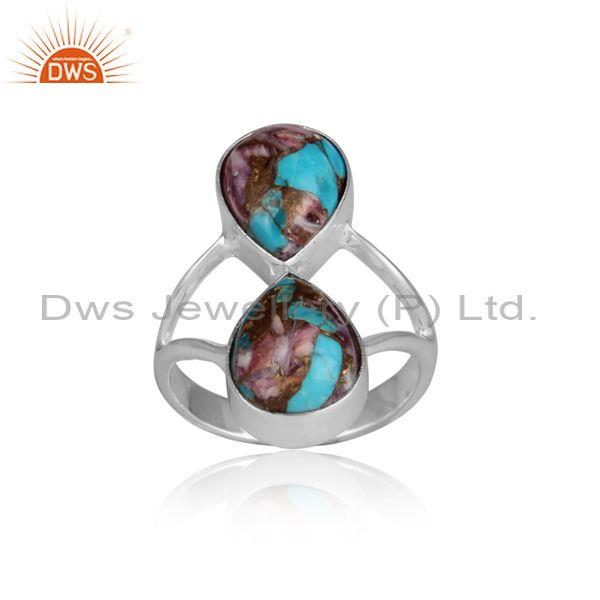 Mojave copper purple oyster turquoise fine silver fancy ring