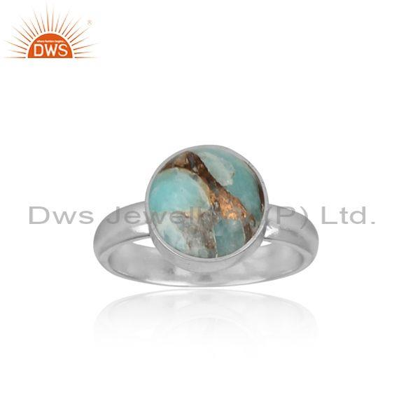 Mojave copper amazonite set fine sterling silver band ring