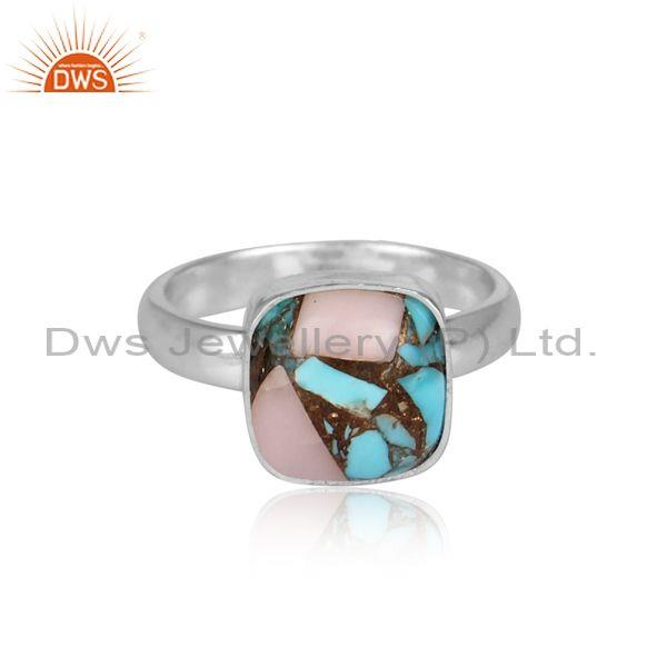 Square mojave copper pink opal turquoise fine silver ring