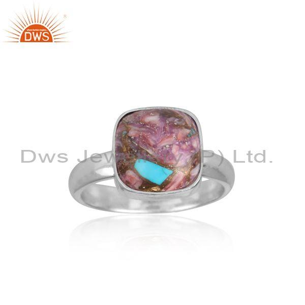 Mojave copper purple oyster turquoise fine 925 silver ring