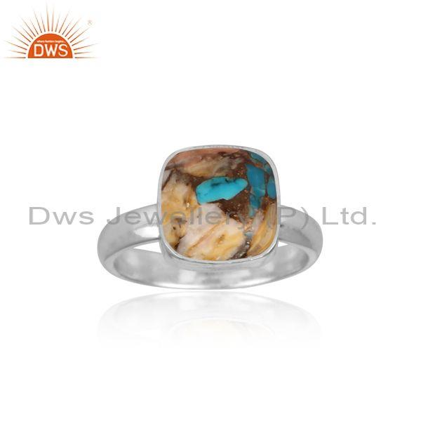 Square mojave copper oyster turquoise set fine silver ring
