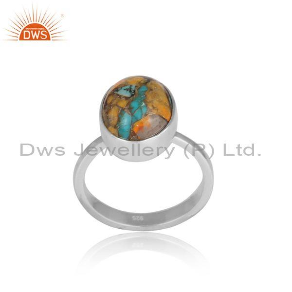 Fine 925 silver and mojave copper bumblebee turquoise ring