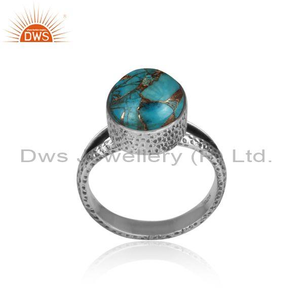 Mojave copper turquoise set oxidized 925 silver fancy ring