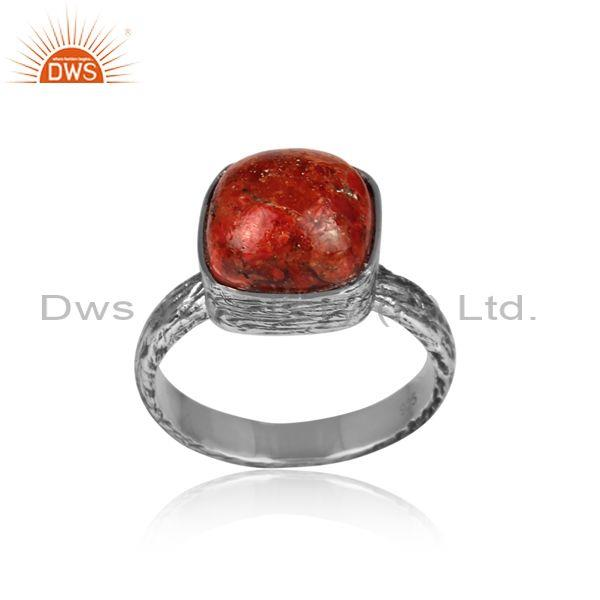 Square sponge coral set oxidized 925 silver textured ring