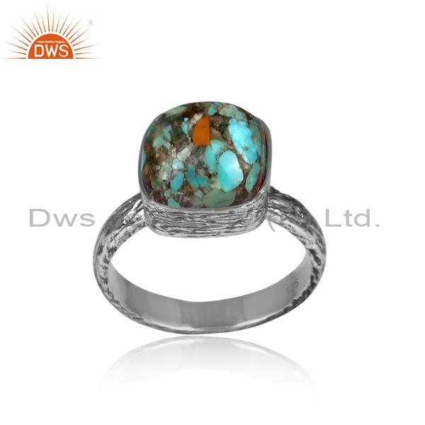 Square boulder turquoise set oxidized silver textured ring