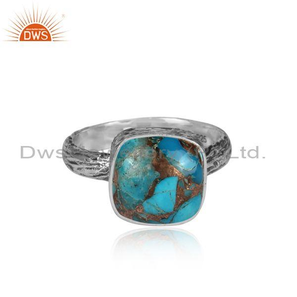 Square mojave copper turquoise oxidized silver textured ring