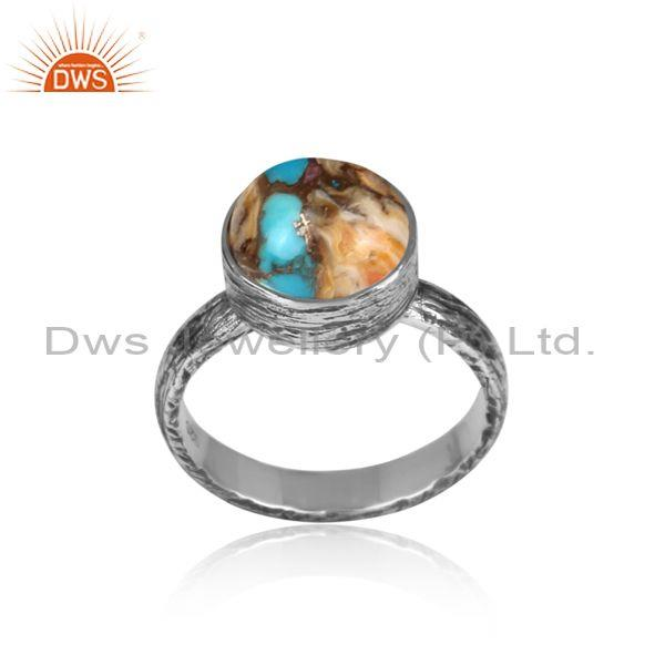 Round mojave copper oyster turquoise oxidized silver ring