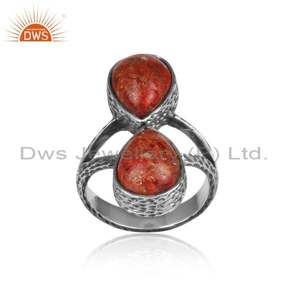 Pear cut sponge coral set oxidized 925 sterling silver ring