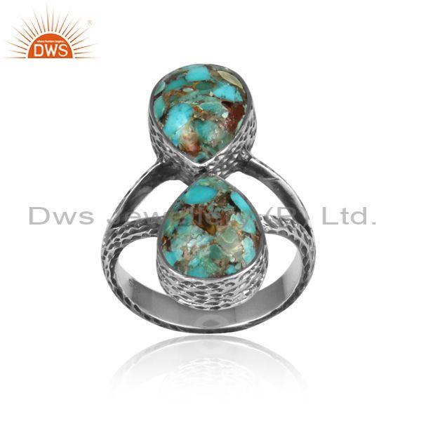 Pear Cut Boulder Turquoise Oxidized 925 Sterling Silver Ring
