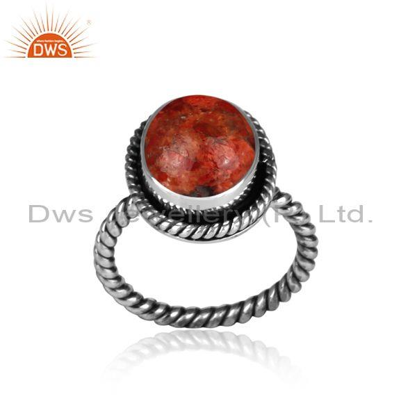 Oxidized silver and sponge coral set handmade twisted ring