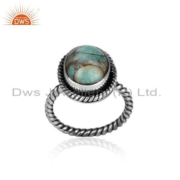 Oxidized silver and mojave copper amazonite set twisted ring