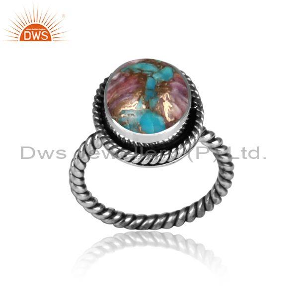 Oxide silver and mojave copper purple oyster turquoise ring