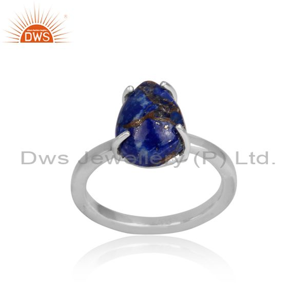 Mojave copper lapis set fine sterling silver pattern ring