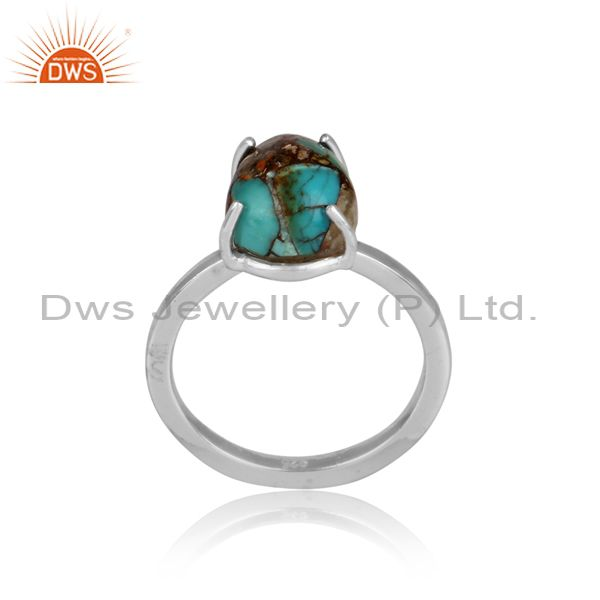 Designer mojave copper bumblebee turquoise fine silver ring