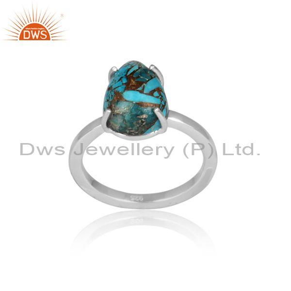 Mojave copper turquoise set fine 925 silver abstract ring