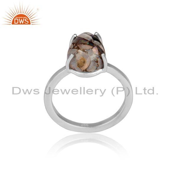 Mojave copper ethiopian opal fine 925 silver abstract ring