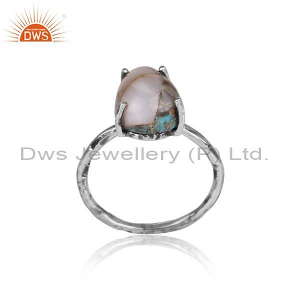 Mojave copper pink opal turquoise oxidized silver fancy ring