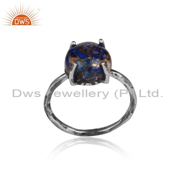 Mojave Copper Lapis Set Oxidized Sterling Silver Fancy Ring