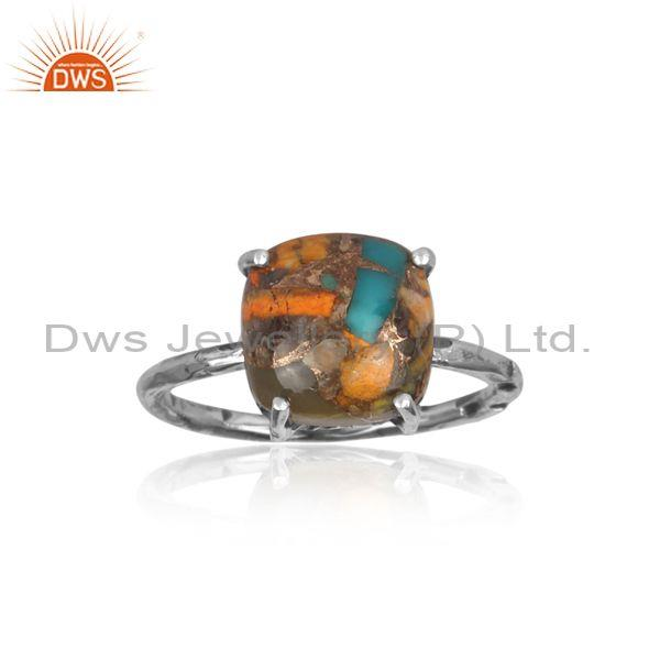 Mojave copper bumblebee turquoise square oxide silver ring