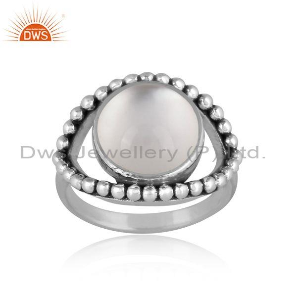 Doublet mother of pearl crystal oxide silver designer ring