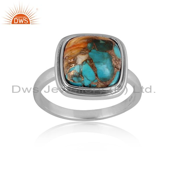 Mojave Copper Oyster Turquoise Set Oxidized 925 Silver Ring
