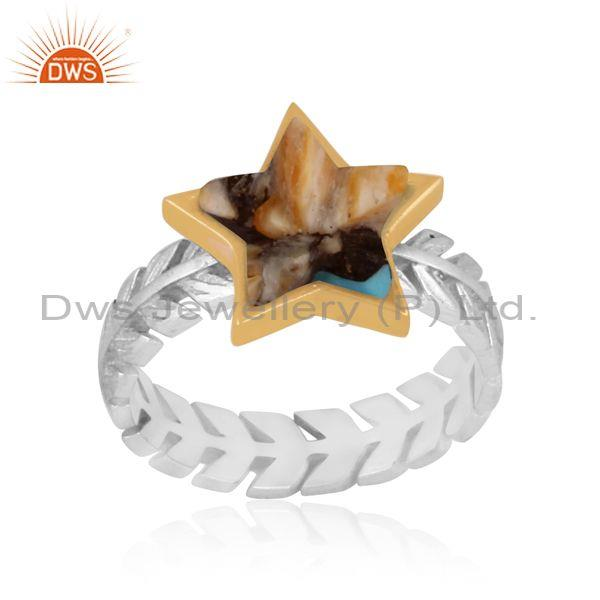 Mojave copper oyster turquoise fine silver star charm ring