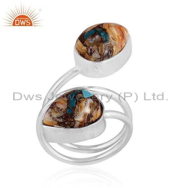 Mojave copper bumblebee turquoise set oxidized silver ring