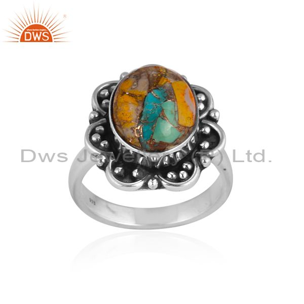 Mojave copper bumblebee turquoise oxide silver ethnic ring