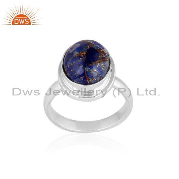 Fine Sterling Silver Oval Lapis Set Classic Handmade Ring