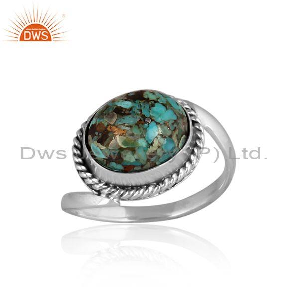 Oval Cut Boulder Turquoise Set Oxidized Silver Handmade Ring