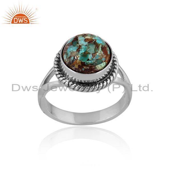 Round Cut Boulder Turquoise Oxidized Silver Handmade Ring