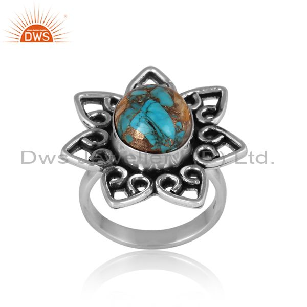 Mojave copper oyster turquoise oxidized silver floral ring