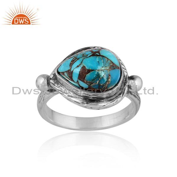 Oval mojave copper turquoise set oxidized silver ethnic ring