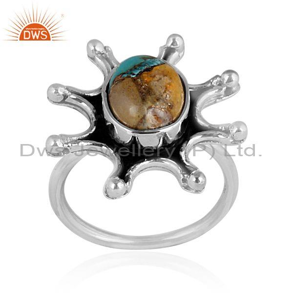 Mojave copper bumblebee turquoise oxide silver abstract ring