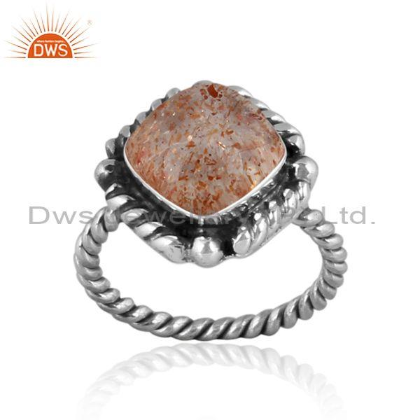 Doublet sunstone crystal set oxidized silver twisted ring