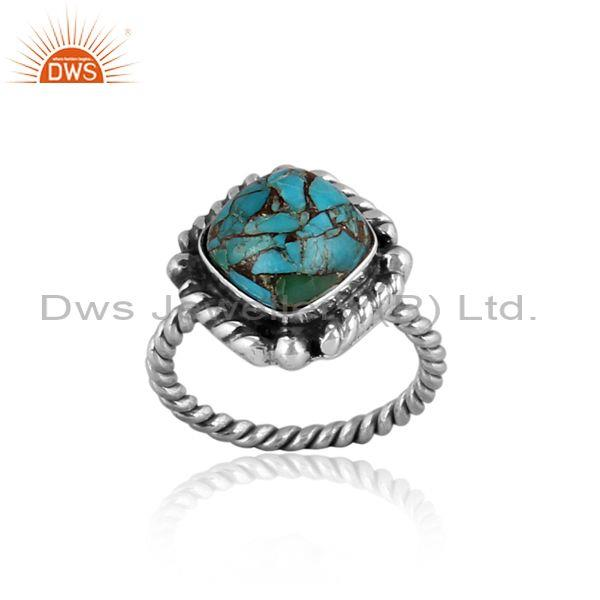 Mojave copper turquoise set oxidized 925 silver twisted ring