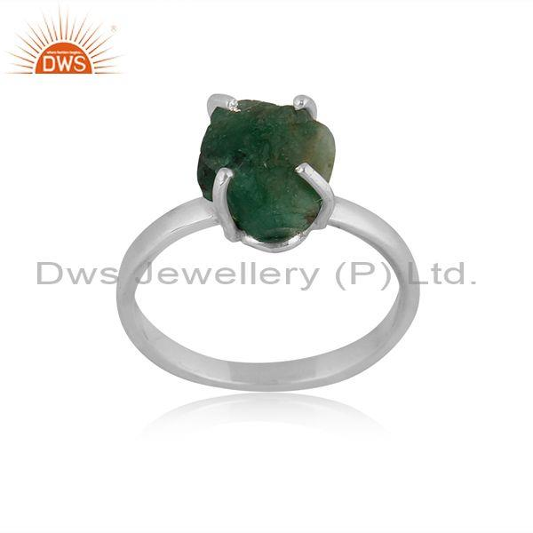 Emerald Set Fine 925 Sterling Silver Handmade Band Type Ring