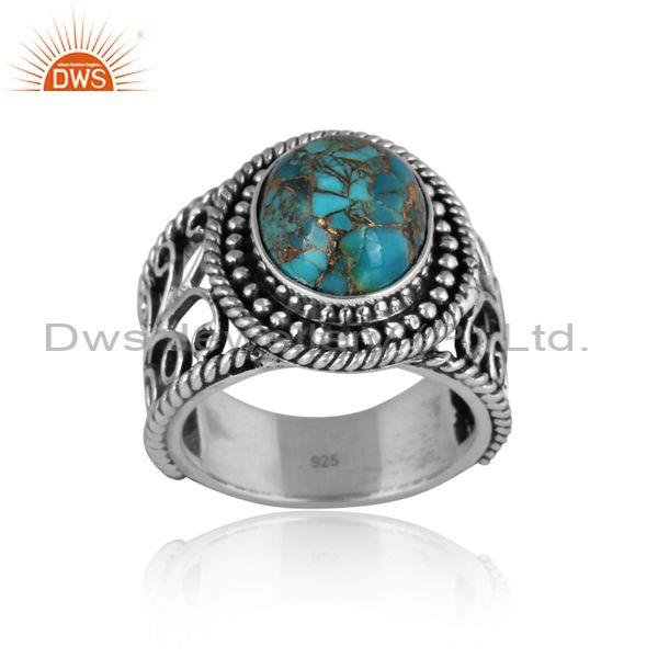 Handmade mojave copper turquoise oxidized silver ethnic ring