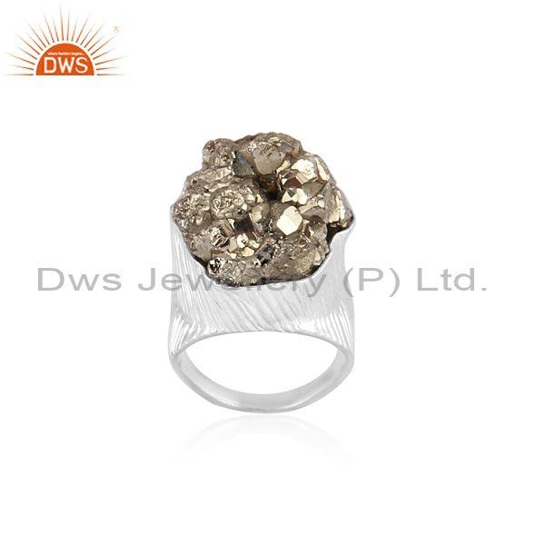 Pyrite Set Fine 925 Sterling Silver Handmade Classic Ring