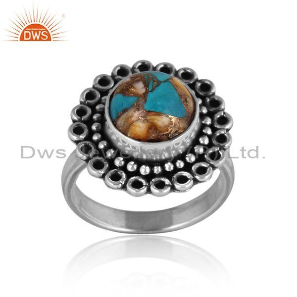Mojave copper oyster turquoise oxidized silver ethnic ring