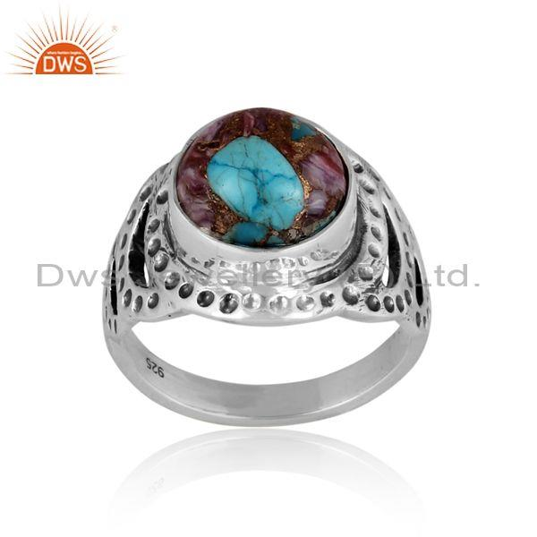 Mojave copper purple oyster turquoise oxidized 925 silver ring
